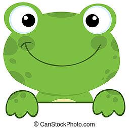 deska, znak, na, żaba, uśmiechanie się