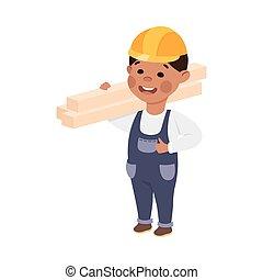 deski, budowniczy, chłopiec, kombinezon, ilustracja, twardy, wektor, transport, narzędzia, kapelusz, zbudowanie, sprytny, mały, styl, rysunek, błękitny