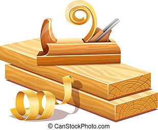 deski, drewniany, instrument, strugarka, sawdusts, rasped, opiłki