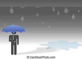 deszczowy, parasol, &, symbol, smutny, osoba, ciemny, pod, krople deszczu, dzień