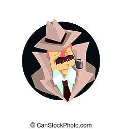 detektyw, chodząc, fedora, klasyk, litera, avatar, kapelusz