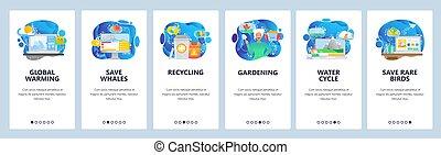 development., app, globalny, umiejscawiać, onboarding, projektować, sieć, zmiana, jadłospisowy szablon, tracić, website, płaski, recycling, ilustracja, animals., screens., chorągiew, klimat, oprócz, ruchomy, ocieplać, wektor