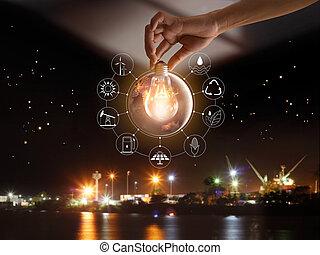 development., pokaz, energia, globalny, nasa., źródła, ekologia, konsumpcja, ikony, concept., dostarczony, świat, dzierżawa, wizerunek, elementy, ręka, przód, bulwa, odnawialny, to, lekki, do podtrzymania