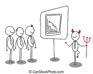 diabeł, czerwony, prezentacja, biznesmen