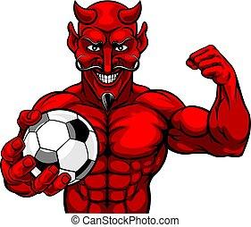 diabeł, lekkoatletyka, piłka nożna, maskotka, piłka, piłka nożna, dzierżawa