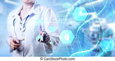diagnosis., medyczny, concept., zdrowie, cyfrowy, healthcare, technologia, nowoczesny