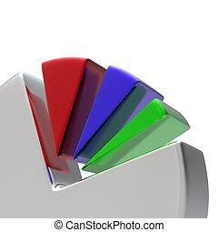 diagram, biały, 3d, okólnik
