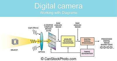 diagram, dslr., cyfrowy