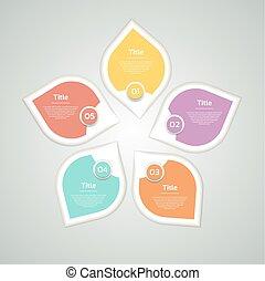 diagram, pojęcie, processes., handlowy, infographic, opcje, strzały, wykres, chart., prezentacja, wektor, 5, infographics, wir, kroki, koło, dane, template., strony, cykl