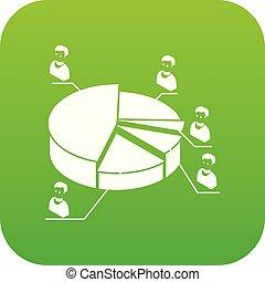 diagram, wektor, zielony, wybór, ikona