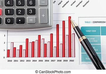 diagram, zameldować, pokaz, finansowy, pióro