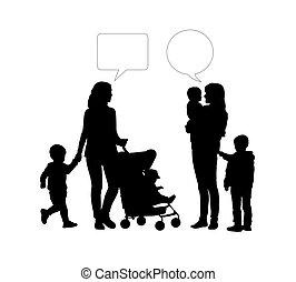 dialog, matki, młody, dwa, między, dzieci
