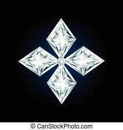 diament, czarnoskóry, krzyż, tło, znak