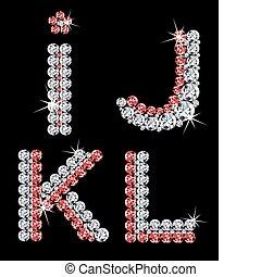 diament, komplet, (3), letters., wektor, alfabetyczny