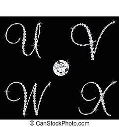 diament, komplet, 6, letters., wektor, alfabetyczny, łania