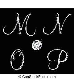 diament, komplet, letters., wektor, 4, alfabetyczny, łania