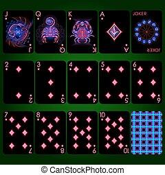 diament, seria, set., znaki, neon, pełny garnitur, bilety, zodiak, interpretacja
