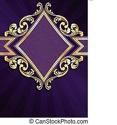diament, złoty, mający kształt, purpurowy, &, chorągiew