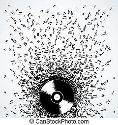 didżej, notatki, rekord, bryzg, muzyka, winyl