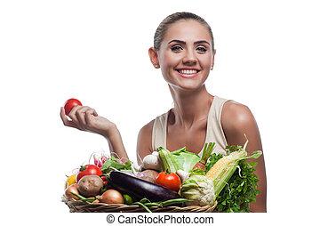 dieting, kobieta, zdrowy, wegetarianin, -, młody, jadło, pojęcie, dzierżawa, vegetable., kosz, szczęśliwy