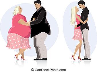 dieting, para, miłość