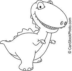 dinozaur, konturowany, śmiech
