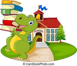 dinozaur, przód, szkoła, transport, rysunek, stóg, książki, gmach