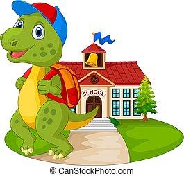 dinozaur, szkoła, zabawny, rysunek, chodzenie