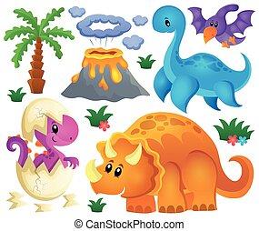 dinozaur, temat, 2, komplet