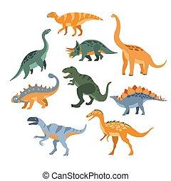 dinozaury, różny, komplet, gatunek