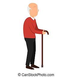 disable, stary, odizolowany, człowiek, ikona
