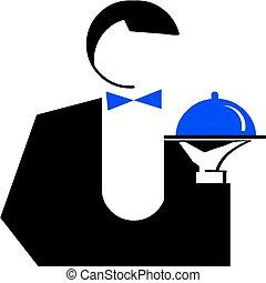 dish., kelner, ilustracja, człowiek, wektor