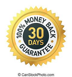 dni, pieniądze, 30, wstecz, etykieta, gwarantować