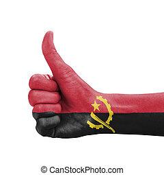 do góry, angola, kciuk, barwiony, symbol, ręka, bandera, doskonałość