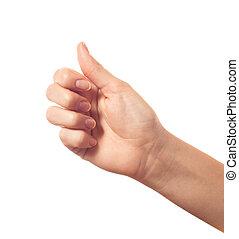 do góry, biały, kciuk, tło, odizolowany