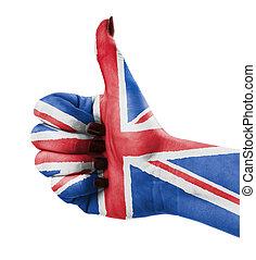 do góry, britain, wielki, kciuk
