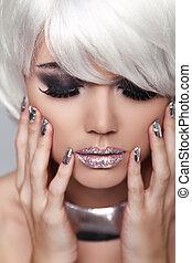 do góry., fason, piękno, girl., hair., manicured, nails., ustalać, woman., close-up., portret, twarz, blond, krótki, oko, biały