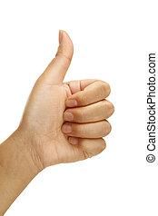 do góry, gest, samica, dodatni, kciuki, ręka