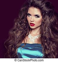 do góry., jewelry., kobieta, piękno, lips., ustalać, odizolowany, ciemny, tło., fason, brunetka, luksus, sexy, portret, dziewczyna, czerwony