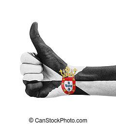 do góry, kciuk, barwiony, symbol, ręka, ceuta, bandera, doskonałość