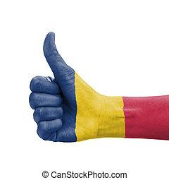 do góry, kciuk, czad, barwiony, symbol, ręka, bandera, doskonałość