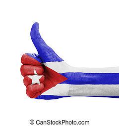 do góry, kciuk, kuba, barwiony, symbol, ręka, bandera, doskonałość