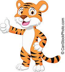 do góry, kciuk, sprytny, tiger, rysunek, udzielanie