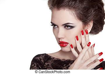 do góry., kobieta, nails., lips., ustalać, odizolowany, blask, fason, portrait., tło, manicured, biały czerwony