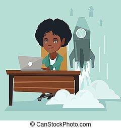 do góry., kobieta, pracujący, handlowy, laptop, początek