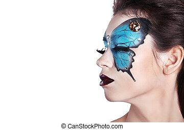 do góry., motyl, fason, farba sztuki, ustalać, makijaż, odizolowany, twarz, tło., piękny, portrait., woman., biały