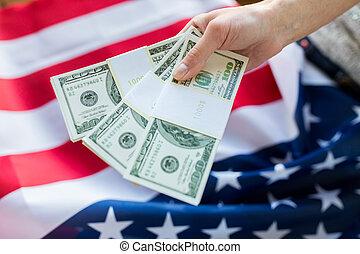 do góry, pieniądze, na, amerykanka, ręka, bandera, zamknięcie
