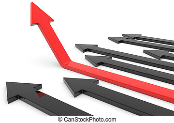 do góry., pojęcie, growth., powodzenie, strzała, czerwony