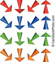 do góry, przekątny, ilustracja, na dół, directions., arrows., 3d