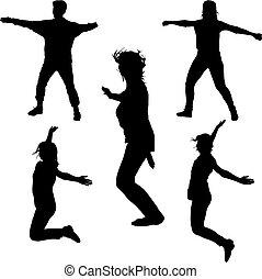 do góry, sylwetka, ludzie, młody, ruch, skokowy, siła robocza